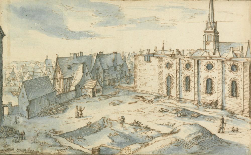 Constuction du Collège royal, dessin par Étienne Martellange